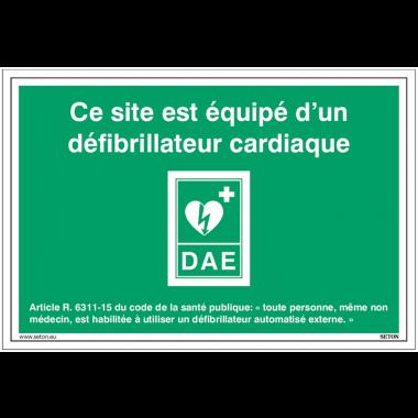 """Signalisation vitrophanie """"DAE - Ce site est équipé d'un défibrillateur cardiaque"""""""
