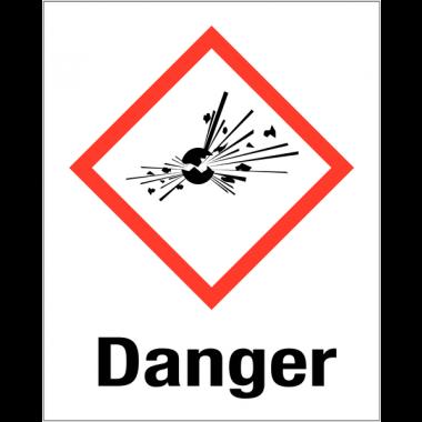 """Etiquettes d'identification des produits dangereux """"Danger - Matières explosives"""""""