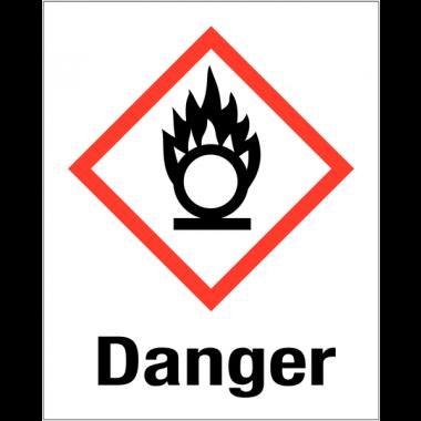 """Etiquettes d'identification des produits dangereux """"Danger - Matières comburantes"""""""