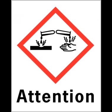 """Etiquettes d'identification des produits dangereux """"Attention - Matières corrosives"""""""