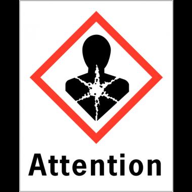 """Etiquettes d'identification des produits dangereux """"Attention - Risque mutagène"""""""