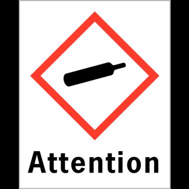 """Etiquettes d'identification des produits dangereux """"Attention - Matières gazeuses sous pression"""""""