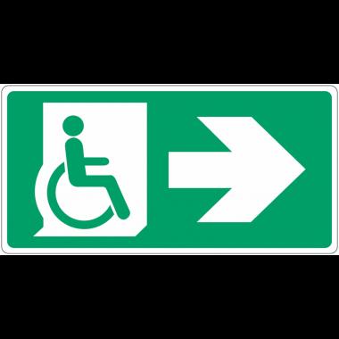 """Panneau d'évacuation """"Handicapés, flèche à droite"""""""