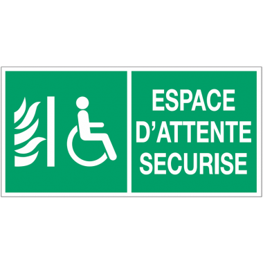 Panneau d'évacuation - Espace d'attente sécurisé pour handicapés
