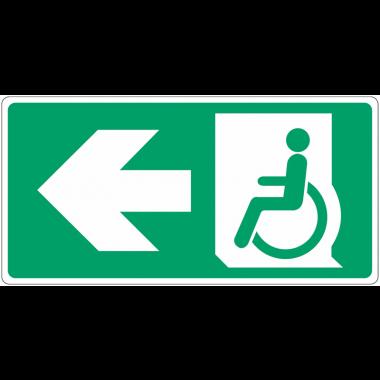 """Panneau d'évacuation """"Handicapés, flèche à gauche"""""""