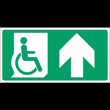 """Panneau d'évacuation """"Handicapés, flèche en haut"""""""