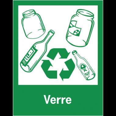 """Panneaux de signalisation """"Tri sélectif des déchets"""" pour Verre"""