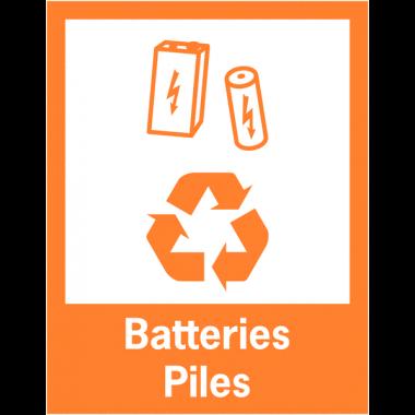 """Panneaux de signalisation """"Tri sélectif des déchets"""" pour Batteries et Piles"""