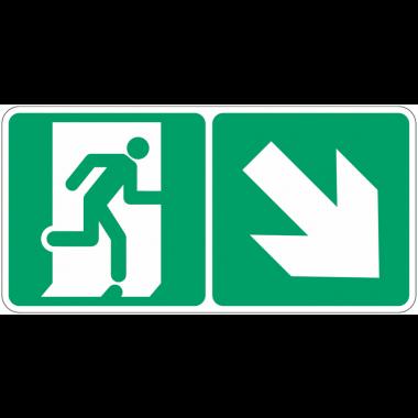 """Marquage photoluminescent d'évacuation """"Homme qui descend, flèche à droite"""""""