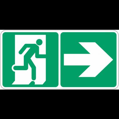 """Marquage photoluminescent d'évacuation """"Homme qui court, flèche à droite"""""""