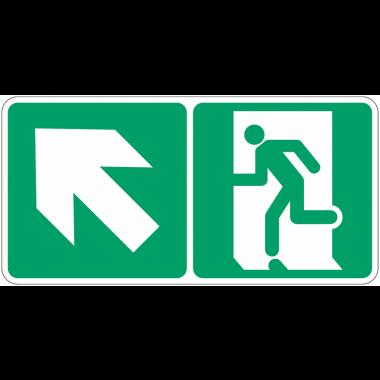 """Marquage photoluminescent d'évacuation """"Homme qui monte, flèche à gauche"""""""