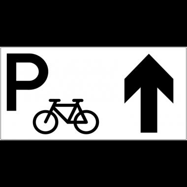 Panneau d'information Parking vélos - Flèche directionnelle