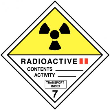 """Etiquettes de transport international """"Matières radioactives, catégorie II"""" en rouleau"""