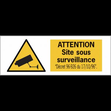 Autocollant pour surfaces vitrées - Attention site sous surveillance