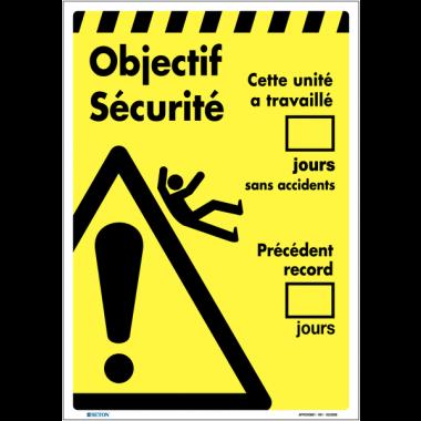 Affiche - Objectif sécurité nombre de jours sans chutes