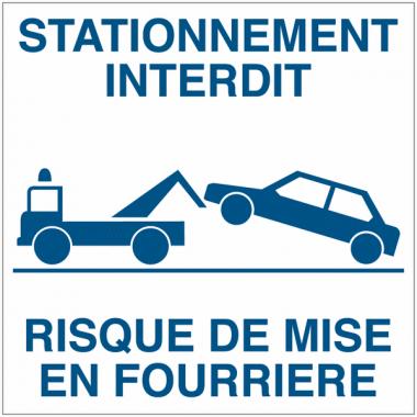 Etiquettes dissuasives à poser le pare-brise - Stationnement interdit Risque de mise en fourrière