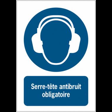 Panneaux ISO 7010 d'obligation à message vertical Serre-tête antibruit obligatoire - M003
