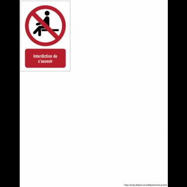 Panneau EN ISO 7010:2012 en aluminium avec message - Interdiction de s'asseoir - P018
