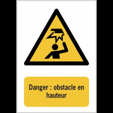 Panneau EN ISO 7010:2012 en aluminium avec message - Danger : obstacle en hauteur - W020