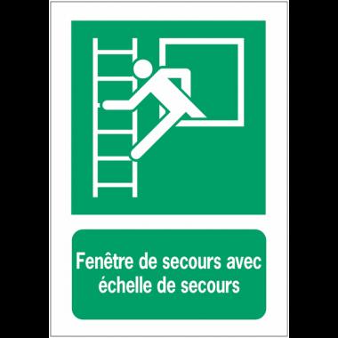 Panneaux ISO 7010 d'évacuation à message vertical - Fenêtre de secours avec échelle de secours - E016