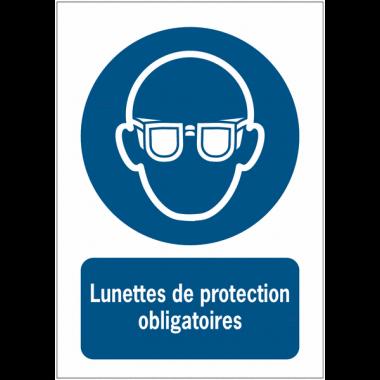 Panneau EN ISO 7010:2012 en aluminium avec message - Lunettes de protection obligatoires - M004