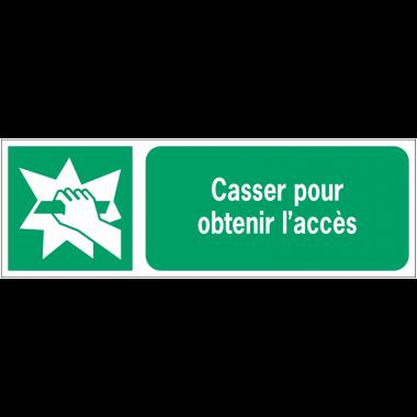 Panneaux ISO 7010 d'évacuation à message horizontal - Casser pour obtenir l'accès - E008