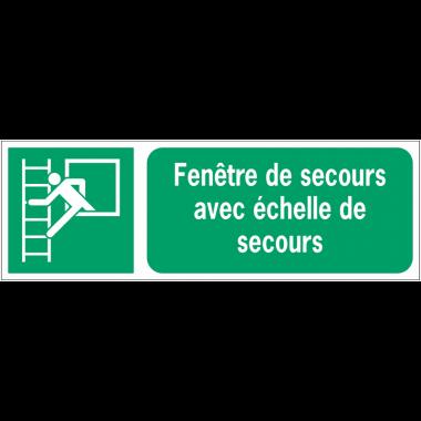 Panneaux ISO 7010 d'évacuation à message horizontal - Fenêtre de secours avec échelle de secours - E016