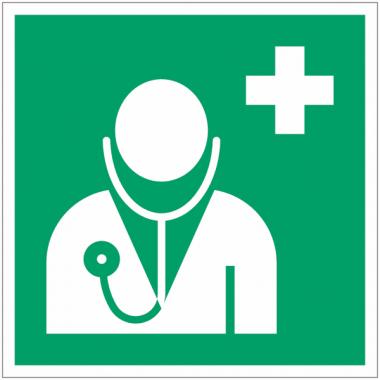 """Panneaux ISO 7010 premiers secours carrés """"Médecin"""" - E009"""