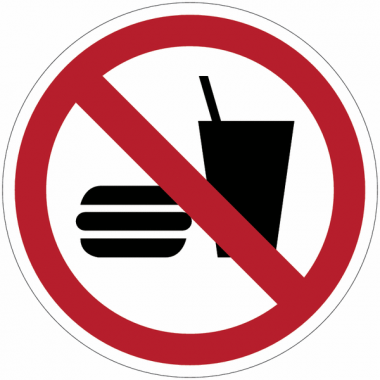 """Panneaux ISO 7010 """"Interdiction de manger ou de boire"""" - P022"""