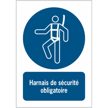 Panneaux ISO 7010 à message vertical - Harnais de sécurité obligatoire - M018