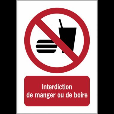 Panneaux ISO 7010 à message vertical - Interdiction de manger ou de boire - P022