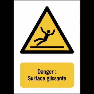 Panneaux ISO 7010 à message vertical - Danger, surface glissante - W011