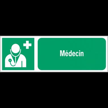 Panneaux ISO 7010 premiers secours à message horizontal - Médecin - E009