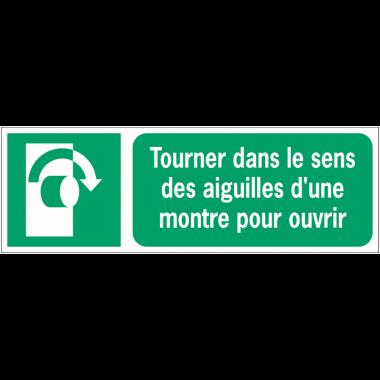 Panneaux ISO 7010 d'évacuation à message horizontal - Tourner dans le sens des aiguilles d'une montre pour ouvrir - E019