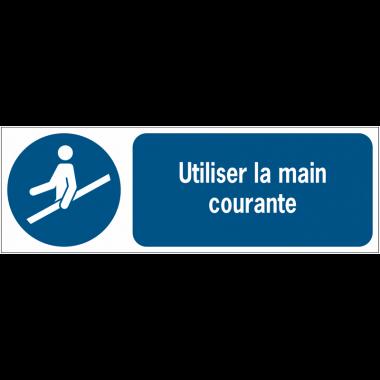 Panneaux ISO 7010 d'obligation à message horizontal - Utiliser la main courante - M012