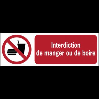 Panneaux ISO 7010 à message horizontal - Interdiction de manger ou de boire - P022