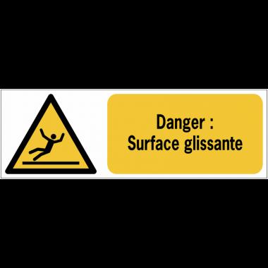 Panneaux ISO 7010 de danger à message horizontal - surface glissante - W011