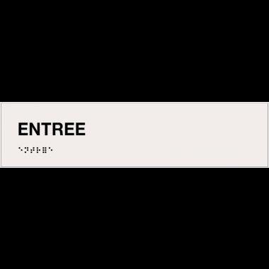 """Plaque """"Entrée"""" avec texte en relief et traduction en braille"""