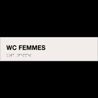 """Plaque """"WC femmes"""" avec texte en relief et traduction en braille"""