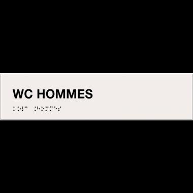 """Plaque """"WC hommes"""" avec texte en relief et traduction en braille"""