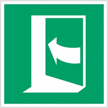 Panneaux et autocollants NF EN ISO 7010 Porte qui s'ouvre en poussant sur son côté gauche - E022