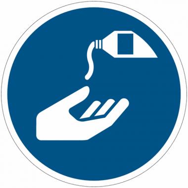 Panneaux et autocollants NF EN ISO 7010 Utiliser une crème de protection - M022