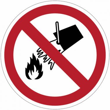 Panneaux et autocollants NF EN ISO 7010 Interdiction d´éteindre avec de l´eau - P011