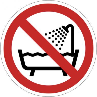 Panneaux et autocollants NF EN ISO 7010 Ne pas utiliser ce dispositif dans une baignoire, une douche ou dans un réservoir rempli d'eau - P026
