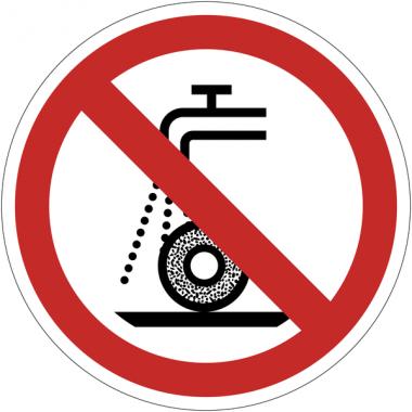 Pictogramme ISO 7010 en rouleau Ne pas utiliser pour rectification humide - P033