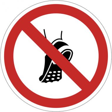 Pictogramme ISO 7010 en rouleau Chaussures à picots métalliques interdites - P035