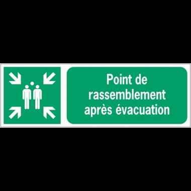 Panneaux ISO 7010 horizontaux Point de rassemblement après évacuation - E007