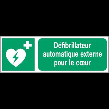 Panneaux ISO 7010 horizontaux Défibrillateur automatique externe pour le cœur - E010