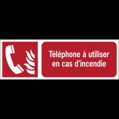 Panneaux ISO 7010 horizontaux Téléphone à utiliser en cas d'incendie - F006
