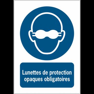Panneaux NF EN ISO 7010 A3/A4/A5 Lunettes de protection opaques obligatoires - M007
